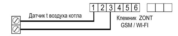 СХЕМА ПОДКЛЮЧЕНИЯ ZONT GSM/WI-FI ДЛЯ КОТЛАWARMOS-RX 4,7